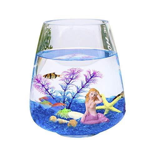 JNDM Mini Glas ökologische Goldfischschale eine kleine Hydrokultur-Vase Desktop Couchtisch Mode kreativ Aquarium Heimdekoration klar Stil 17 cm farbe