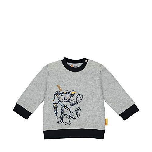 Steiff Baby-Jungen mit süßer Teddybärapplikation Sweatshirt, Soft Grey Melange, 086