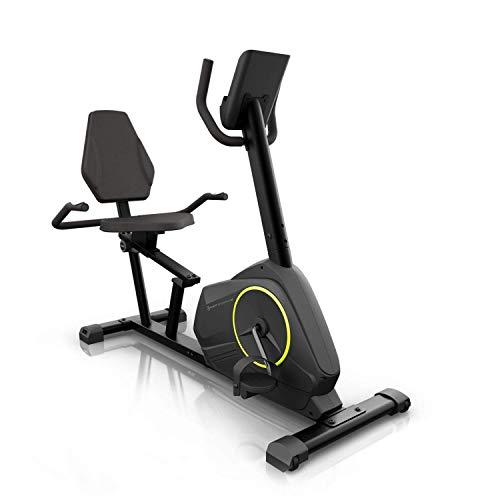 Capital Sports Epsylon Relax Fahrrad-Heimtrainer - Riemenantrieb mit SilentBelt System, 12 kg Schwungmasse, HiLevel-Widerstand in 24 Stufen, MagResist-Funktion, TÜV-geprüft, Graphitgrau