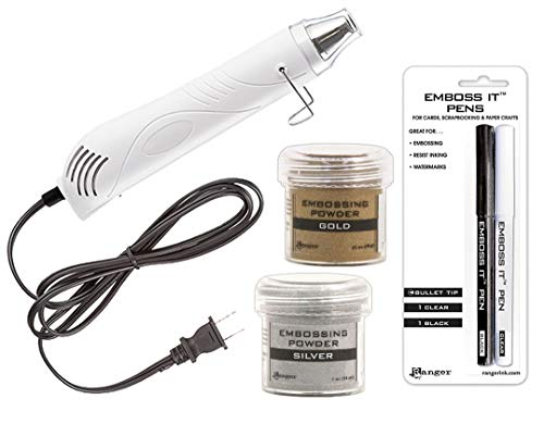 Embossing Starter Kit: Heat Tool Machine, Emboss It Pens, Ranger Gold and Silver...