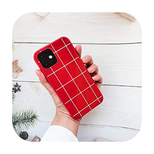 Funda de silicona para iPhone 12 Pro Max de color rojo y blanco a cuadros para iPhone 12 Mini Funda de lujo para iPhone 12 Pro