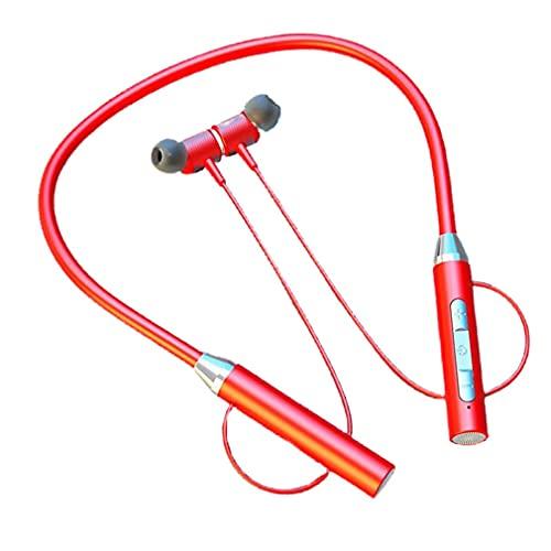Nrew YD08-2 Inalámbrico 5.0 Tarjeta enchufable Colgante Cuello Auriculares Auriculares Deportivos Rojo