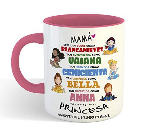 Taza Princesas Disney 2 DIA DE LA MADRE - Taza cerámica 350ml - Frase Divertida Regalos Originales para mama dia de la madre o cumpleaños (Rosa)