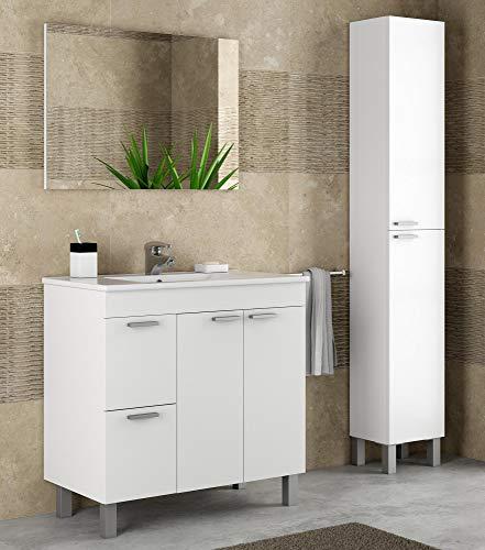 Miroytengo Pack Mobiliario baño Mueble con lavamanos cerámico y Columna Color Blanco