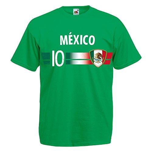 Fußball WM T-Shirt Fan Artikel Nummer 10 - Weltmeisterschaft 2018 - Länder Trikot Jersey Herren Damen Kinder Mexiko Mexico XXL