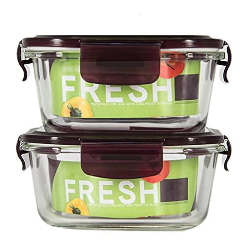NC Brotdose aus Glas, auslaufsicher Tolle Frischhalte-Trennwand für unterwegs mit hitzebeständigem Deckel Lebensmittelaufbewahrung 2er-Pack LKWK
