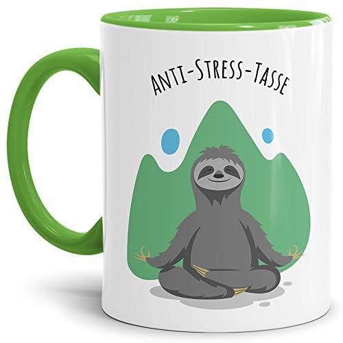 Anti Stress Tasse Faultier - Faultiertasse für Ihn/Geschenkidee für den Freund/Schöne Motivtasse zum Entspannen - Innen & Henkel Hellgrün