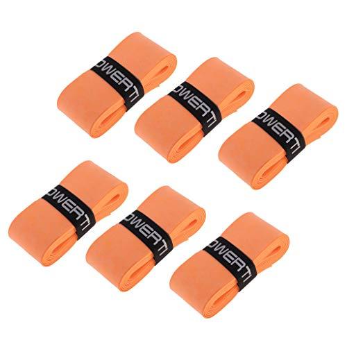 Inzopo 6 bandas antideslizantes para el sudor, para tenis, bádminton, raqueta de squash, raqueta de pesca, agarre naranja