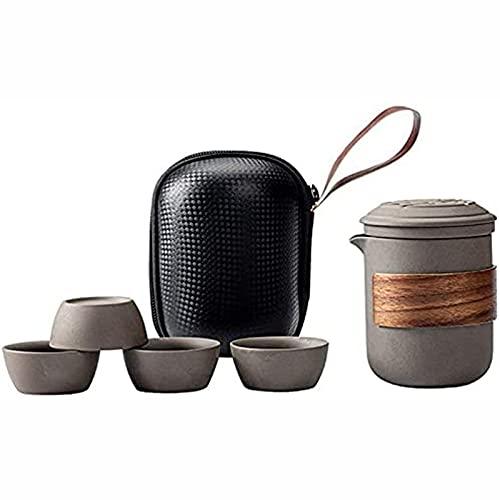 Bellamente portátil Trave Set de regalo 1 olla 4 mini taza de cerámica china Kung Fu tetera con infusor, bolsa protectora para picnic al aire libre camping