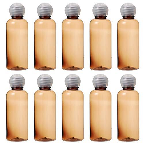 Minkissy 15Pcs Reise Container Kosmetische Flaschen Klar Kunststoff Nachfüllbar Container Leck Beweis Probe Squeeze Rohre mit Pilz Kappe für Shampoo Conditioner Lotion 50Ml Braun