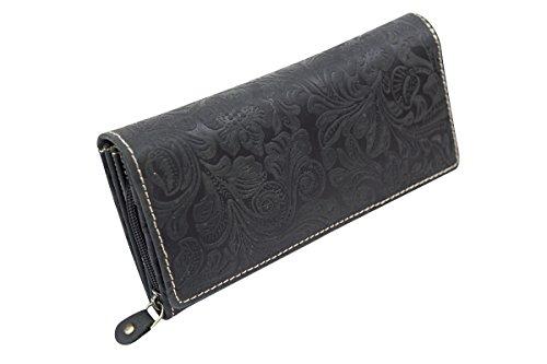 Große Damenlangbörse Natur Damen Portemonnaie im Vintage Look LEAS in Echt-Leder, schwarz
