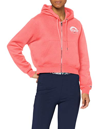 Tommy Hilfiger TJW Cropped Logo Zip Thru Suter, Rosa Glamour, S para Mujer