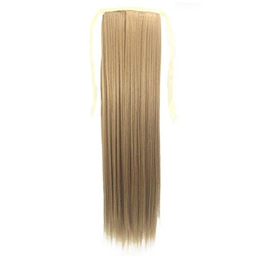 Queue de Cheval Extension Naturel 100% Vrai Cheveux Humain Rajout Lisse - Ponytail Hair Extensions Attaché par Bande Agrippantes Adhésives - 22\
