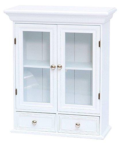 elbmöbel Hängeschrank Holz mit Zwei Holztüren mit Glastür Zwei Schubladen Wandschrank Badschrank Medizinschrank antik Shabby weiß 60x49 cm