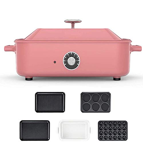 GIRISR Electric grillHeater Electric Multifunctional compact + Plate Takoyaki + Ceramic Plate Grill with Covered Pot, Inner Grill and hot Plate hot Plate pink