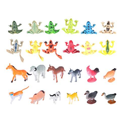TOYANDONA 24 Pcs en Plastique Réaliste Animaux Jouets Mini Grenouilles Ferme Animaux Modèles Miniatures Figurines Animales pour Les Animaux Thème Partie Décoration Favorise Cadeaux