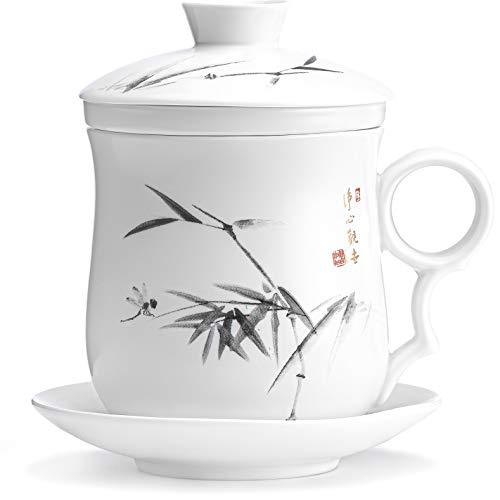 Tazza Tè Infusore E Coperchio - Tazza Tisana Con Filtro - Teiera Diffusore E Colino - Filtri Pper Tè Più Ripidi Accessori 350 ml