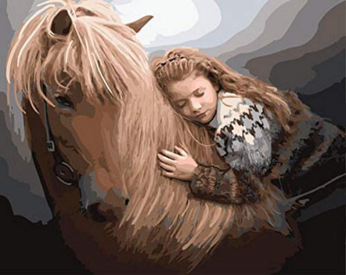 wxxxj Colour Talk Paint By Numbers For Adults And Kids DIY Oil Painting Kit Beginner- Little girl lying on horseKits on Canvas Acrylic Wall Decoration -30x40cm