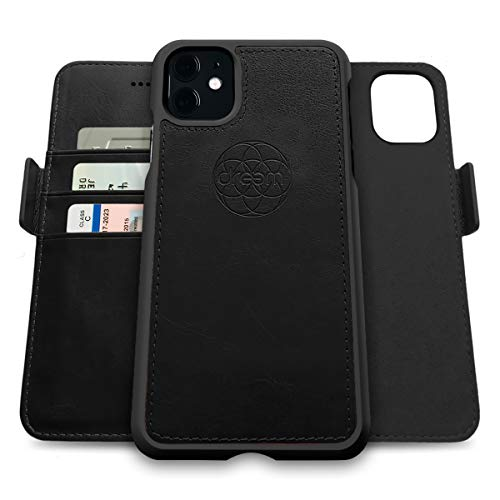 Dreem Fibonacci 2-in-1 Wallet-Case for Apple iPhone 12 Pro Max - Luxury Vegan Leather, Magnetic Detachable Shockproof Phone Case, RFID Card Protection, 2-Way Flip Stand - Black