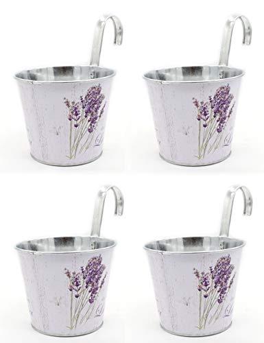 DARO DEKO Metall Hängetopf - Ø 15cm x 13cm Lavendel und Schmetterling 4 Stück