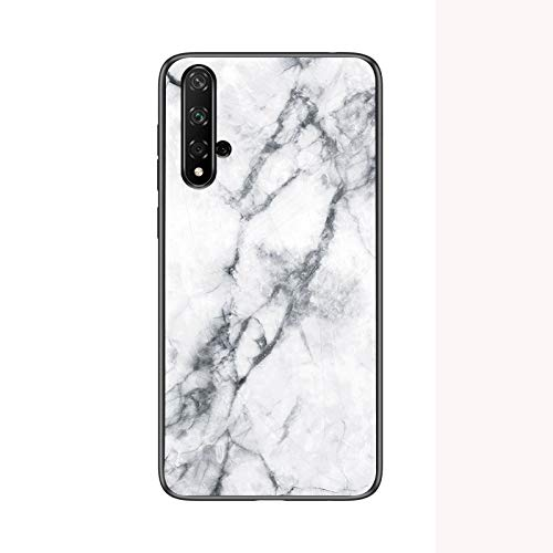 SHIEID Hülle für Huawei Nova 5T Hülle,Marmor Gehärtetem Glas und Silikon Rand Hybrid Hardcase Stoßfest Kratzfest Handyhülle Dünn Hülle Handyhülle für Huawei Nova 5T (Weiß)