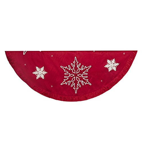 Kurt Adler Snowflake Embroidered and Pleated Tree Skirt, 60-Inch, Red