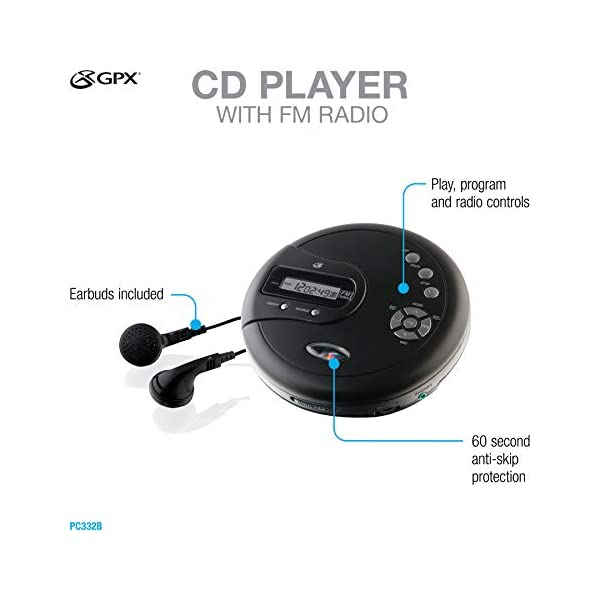 Portable CD Player with Anti-Skip Protection, FM Radio and Stereo Earbuds - Black 5