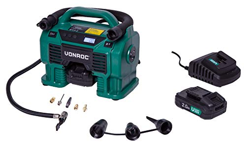 VONROC Compresor a batería 20 V VPower y toma de mechero 12 V VPower – 2 baterías de 2,0 Ah, cargador – 5 adaptadores, 2 anillos de reducción y válvula incluidos