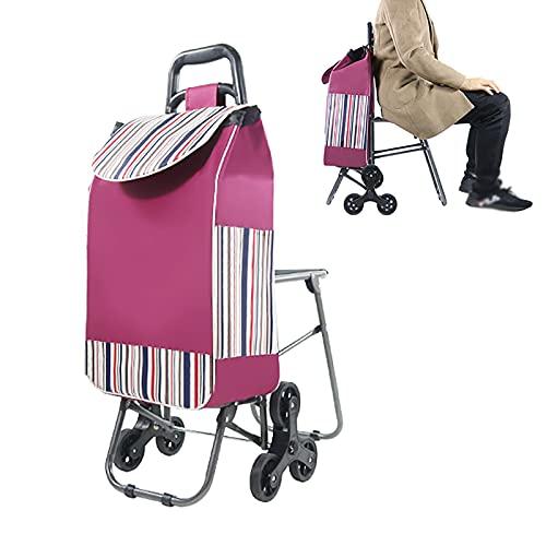 BRZX Faltbare Einkaufswagen - Treppensteigender Lebensmittelwagen 3-Rad-Dienstprogramm Leichte Transportwagen Mit Faltbarem Stuhl Und Abnehmbarer Einkaufstasche - für Den Einkauf Von Lebensmitteln