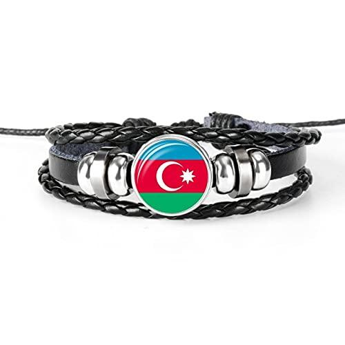 Minyose 2 Uds Pulsera De Brazalete con Bandera De Argelia Brasil Hecha A Mano para Hombres Y Mujeres Cabujón De Cristal Pulsera De Cuero Regalo De Joyería