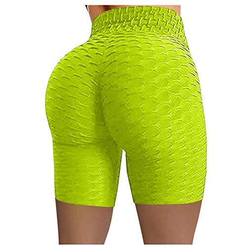 URIBAKY - Leggings de deporte para mujer, cintura alta, elástico, running, fitness, yoga, ciclismo, color liso, de levantamiento de cadera, burbujas, pantalones cortos verde M