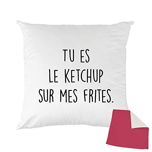 Mygoodprice Kissenhülle, zweifarbig, Bedruckt, 40 x 40 cm, Ketchup auf MES Frites Himbeere