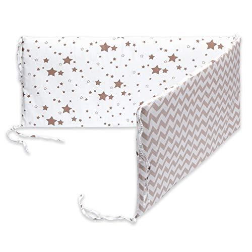 AKlamater Protector de cuna transpirable para protección de cama de algodón, diseño envolvente, estrechamente conectado con la corbata de cuna (blanco)