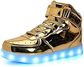 IGxx LED Light Up Shoes Light for Men High Top LED Sneakers USB Recharging Shoes Women Glowing Luminous Flashing Shoes LED Kids Gold