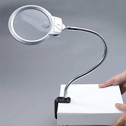 LGQ88 Lupe Desktop-Lupe Mit LED-Licht, 2X 2,5X Großes Doppel-HD-Objektiv 107mm Freisprech-Lupe Mit Clip-Reparatur-Carving-Werkbank Antike Schmuck-Identifikation Leselupe