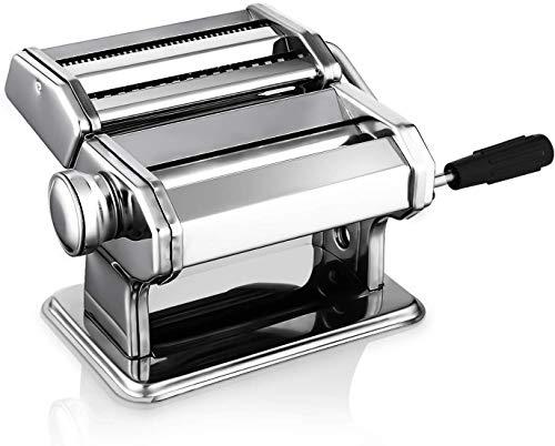Nudelmaschine Pasta Maker Edelstahl Frische Manuell Pasta Walze Maschine Cutter mit Klemme für Spaghetti Nudeln Lasagne Bestes Pastamaschine Nudel Maschine Geschenk, Einfache Reinigung und Verwendung