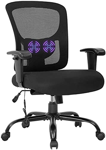 LCH Big and Tall Office Chair 400lbs Ergonomic Mesh Swivel Executive Chair with Adjustable Arms Lumbar Support Massage Home Computer Desk Chairs for Heavy People,Black