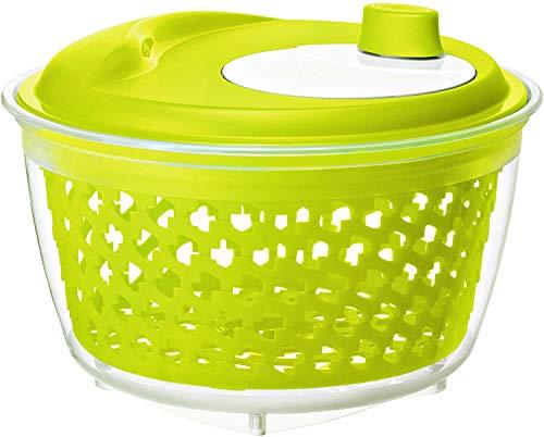 Rotho Fresh Salatschleuder, Kunststoff (PP) BPA-frei, grün/transparent, 4,5l (25,0 x 25,0 x 16,5 cm)