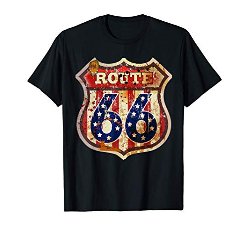 Carretera Ruta 66 Cartel retro vintage Camiseta Biker USA Camiseta