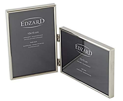 EDZARD Doppel-Fotorahmen Otto für 2 Fotos 10 x 15 cm, edel versilbert, anlaufgeschützt