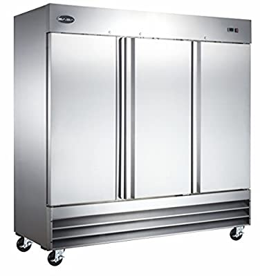 """Heavy Duty Commercial Stainless Steel Reach-In Freezer (72"""" Three Solid Doors)"""