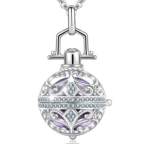 """AEONSLOVE Harmony Ball Pregnancy Bola Necklace, Vintage Cubic Zirconia Harmony Ball Locket Angel Chime Caller Bell 18mm Mexican Bola Balls Pendant Necklaces for Women, 30""""/45"""