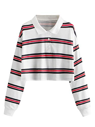 SOLY HUX Women's Collar Striped Button Front Long Sleeve Polo T-Shirts Crop Top White L