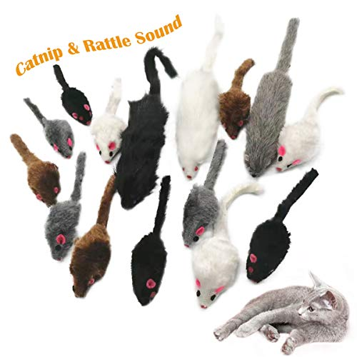 15 Stück Maus Katzenminze, Spielzeug Mouse Katze,Katzenspielzeug Maus,Katze Haustier Maus Spielzeug für Haustier Katze Kitty(A)