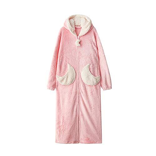 NINAINAI Señoras Caen Camisón De Invierno Mujeres Otoño e Invierno Largo Terciopelo Terciopelo Terciopelo A Los Amantes de la Franela Pijamas Sueltos Nightdress Pijamas De Albornoz De Toalla