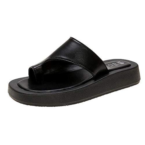 xinghui Chanclas de Mujer Sandle Patines con una Chapa de Personajes Zapatos de Playa de Zapatos de Fondo Plano-Negro_38