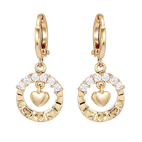 Boucles d'oreilles créoles de en plaqué Or Boucles d'oreilles en Strass en Forme de Coeur incrustées de CZ pour Femmes Filles