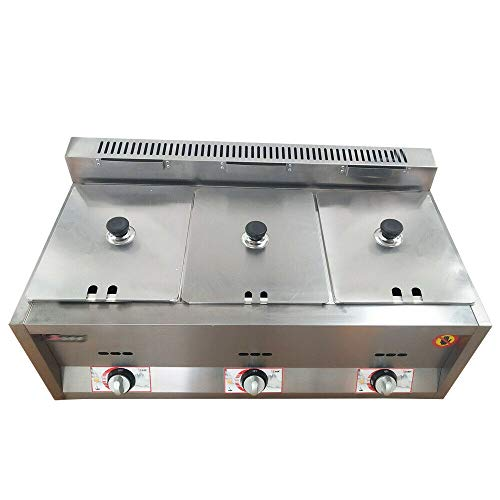 CNCEST Commercial Countertop Deep Gas Fryer, 3-Pan 6L Food Warmer Table Stainless Steel For Restaurants Hotel Supermarket Hotels Home Thermostat Fast Heating