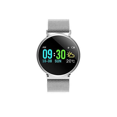 Ddl Smart Bluetooth Farbdisplay Sportuhr Outdoor Stahlband Tiefe wasserdicht Herzfrequenz Fitness mit Uhr, Schlaf-Monitor Schrittzähler,Silber