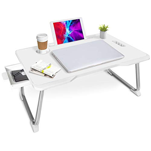 Laptop Bed Tray Table, Adjustable Laptop Bed Desk, Multifunction Laptop Bed Table with Cup Holder and Storage Drawer, Foldable Lap Tablet Table, Student Bed Desk (White)